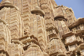 picture of kandariya mahadeva temple  - Shikara tower geometric decorations Kandariya Mahadeva Temple at Khajuraho India - JPG