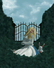 image of alice wonderland  - Alice in a straight jacket outside in the garden - JPG