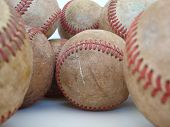 A Bunch Of Old Baseballs