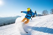 Shot Of A Professional Skier Riding The Slope On A Beautiful Winter Day Copyspace Ski Resort Recreat poster
