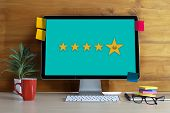 Pressing Smiley Face Emoticon The Customer Service Target Business Customer Review Give A Five Star poster