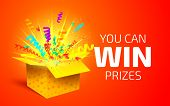 Open Yellow Box With Colorful Particles. You Can Win Prizes. Lottery Drawing Advertising Banner Temp poster