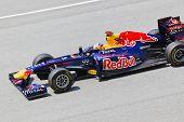 Sepang, Malaysia - April 8: Sebastian Vettel (team Red Bull Racing) At First Practice On Formula 1 G