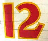 Hand Painted Number Twelve 12 On Wood