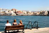 foto of family vacations  - Tourists enjoy the view at Hania - JPG
