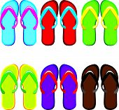 Seis pares de color flip flops