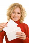 Happy Woman Opening A Letter