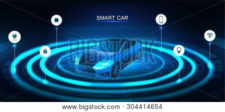 poster of Isometric Smart Car Banner. Electric Machine. Autonomous Car Vehicle With Infographic. Intelligent C
