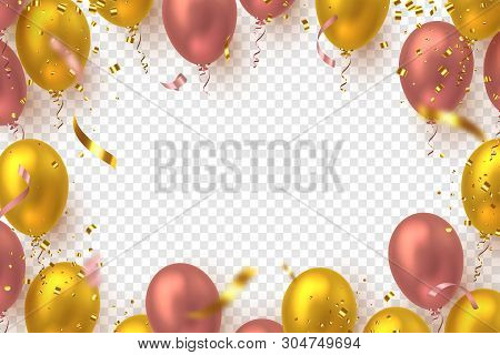 poster of Glossy Balloons In Pink And Golden Colors With Confetti. Vector Balloons Frame For Holiday Backgroun
