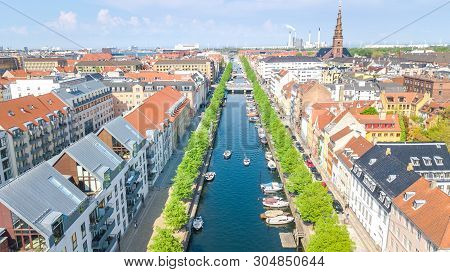 poster of Beautiful Aerial View Of Copenhagen Skyline From Above, Nyhavn Historical Pier Port And Canal With C