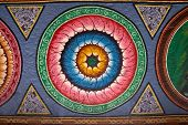 Close Up Of Beautiful Floral Painting In Indian Temple
