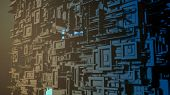 Abstract Cube Shaped Structure, Concept Of Big Data, Cyberspace, Futuristic City (3d Render) poster