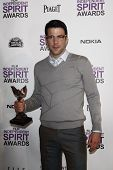 SANTA MONICA, CA - FEB 25: Zachary Quinto in the Press Room at the 2012 Film Independent Spirit Awards on February 25, 2012 in Santa Monica, California