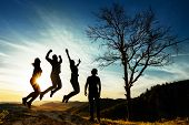 Silhouette Of People. People In Jump. Friends Have Fun At Sunset. Funny Friends. Best Friends. Frien poster