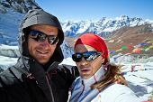 picture of cho-cho  - Couple hiking in Himalaya Mountains in Nepal - JPG