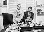 Financial Success. Counting Money Profit. Man Businessman And Woman Secretary With Pile Dollar Bankn poster