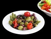 Dish of olives and pickles