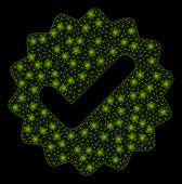 Bright Mesh Best Medallion With Glow Effect. Abstract Illuminated Model Of Best Medallion Icon. Shin poster