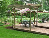 picture of petunia  - Upscale dining terrace decorated with hanging baskets of petunias - JPG