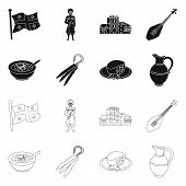 Vector Design Of Culture And Sightseeing Sign. Collection Of Culture And Originality Stock Symbol Fo poster