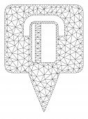 Mesh Bank Terminal Map Pointer Model Icon. Wire Carcass Polygonal Mesh Of Vector Bank Terminal Map P poster