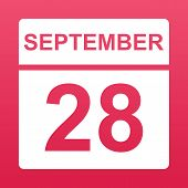 September 28. White Calendar On A  Colored Background. Day On The Calendar. Twenty-eighth Of  Septem poster