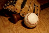 Baseball, Bat And Glove
