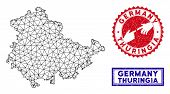 2d Polygonal Thuringia Land Map And Grunge Seal Stamps. Abstract Lines And Circle Dots Form Thuringi poster