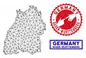 Network Polygonal Baden-wurttemberg Land Map And Grunge Seal Stamps. Abstract Lines And Small Circle poster