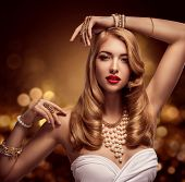 Woman Jewelry, Gold Pearl Jewellery Bracelets And Necklace, Fashion Model Beauty Portrait, Girl With poster