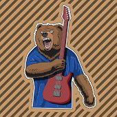 Character Bear With A Striped Guitar In A Rage. Vector Image. Eps poster