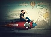 Amazed Guy Flying On A Fast Rocket Looking Hand To Forehead Looking Far Away For A Vacation Destinat poster