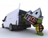 foto of moving van  - 3D render of a tortoises loading a house into a house into a van - JPG