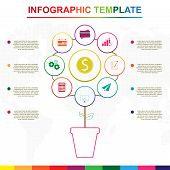 Abstract Tree Infographics Elements. Colorful Infographic Template With 9 Titles, Diagram With Steps poster