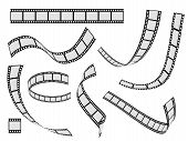 Film Strip Set. Cinema Strip Roll 35mm Blank Slide Frame, Photo Video Monochrome Picture Negative Vi poster