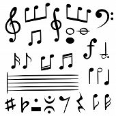 Music Notes. Musical Note Key Silhouette, Treble Clef Sound Melody Art Vector Melodist Symbols poster