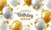 Balloons Birthday. Happy Congratulation Celebrating Anniversary Luxury Party Shiny Gold Silver Ballo poster