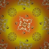 Classic Vintage Background. Seamless Pattern On Yellow And Orange Colors With Golden Elements. Tradi poster