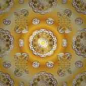 Seamless Pattern On Yellow And White Colors With Golden Elements. Classic Vintage Background. Classi poster