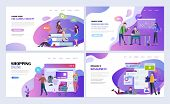 Landing Pages Template Set For Education, Business, Online Shopping, Project Management. Modern Flat poster
