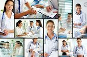 Collage of medical staff working with patient, filling the blanks and carrying out examination
