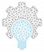 Mesh Bulb Configuration Gear Polygonal Icon Vector Illustration. Carcass Model Is Based On Bulb Conf poster
