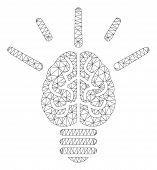 Mesh Brain Idea Bulb Polygonal Icon Vector Illustration. Carcass Model Is Based On Brain Idea Bulb F poster