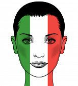 Portrait of a woman with the flag of France painted on her face. Political concept France. Learning  poster
