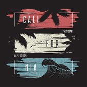 California T-shirt Typography With Color Grunge Background, Wave And Palm Trees Silhouettes. Trendy  poster