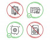 Do Or Stop. Engineering Documentation, Elevator And Cogwheel Icons Simple Set. Documentation Sign. M poster