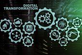 Digital Transformation Concept Of Digitalization Of Technology Business Processes. Datacenter Backgr poster