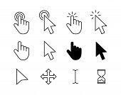 Computer Mouse Click Cursor Gray Arrow Icons Set And Loading Icons. Cursor Icon. Vector Illustration poster