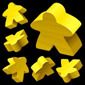 Yellow wooden Meeple vector set isolated on white. Symbol of family board games