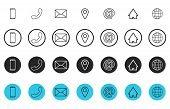 Set Of Line Contact Icons. Button Contacts Of Phone Number Or An Email Address Information. Phone, H poster